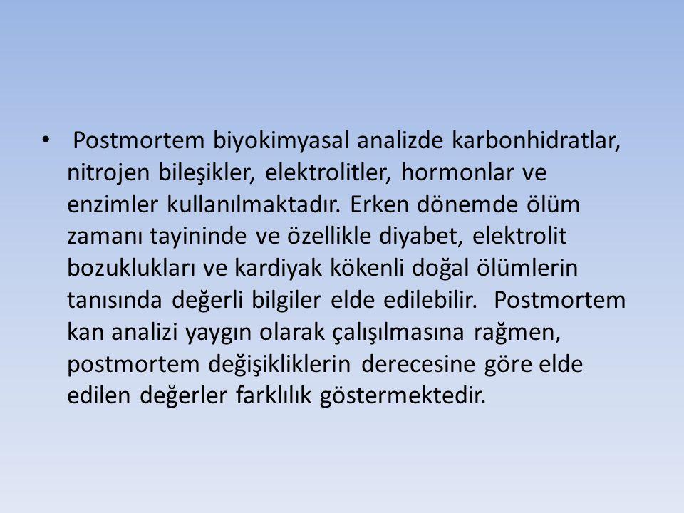 Postmortem biyokimyasal analizde karbonhidratlar, nitrojen bileşikler, elektrolitler, hormonlar ve enzimler kullanılmaktadır. Erken dönemde ölüm zaman