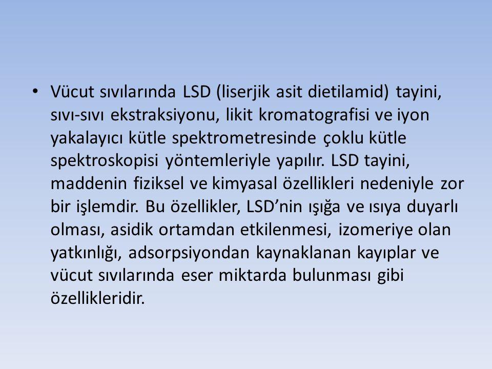 Vücut sıvılarında LSD (liserjik asit dietilamid) tayini, sıvı-sıvı ekstraksiyonu, likit kromatografisi ve iyon yakalayıcı kütle spektrometresinde çokl