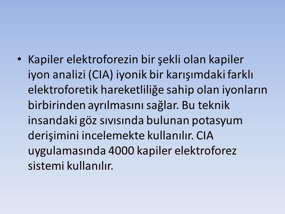 Kapiler elektroforezin bir şekli olan kapiler iyon analizi (CIA) iyonik bir karışımdaki farklı elektroforetik hareketliliğe sahip olan iyonların birbi