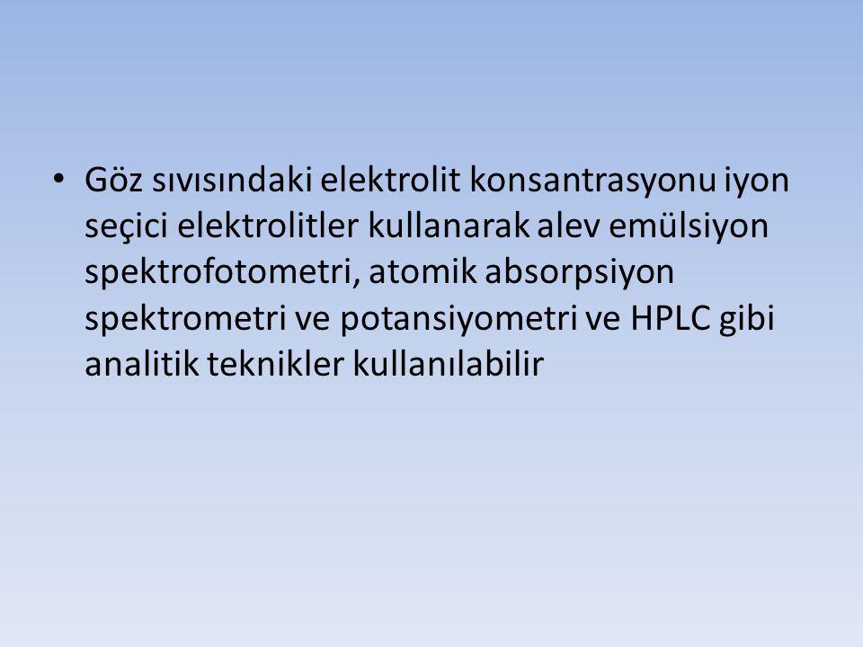 Göz sıvısındaki elektrolit konsantrasyonu iyon seçici elektrolitler kullanarak alev emülsiyon spektrofotometri, atomik absorpsiyon spektrometri ve pot