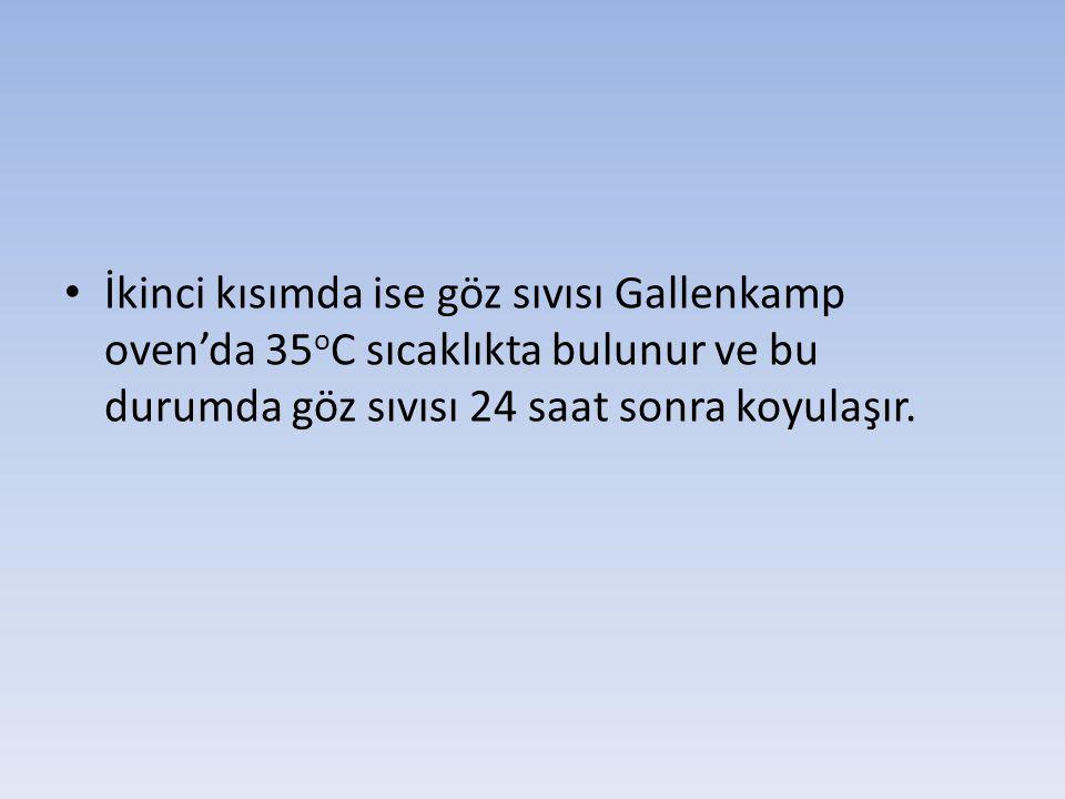 İkinci kısımda ise göz sıvısı Gallenkamp oven'da 35 o C sıcaklıkta bulunur ve bu durumda göz sıvısı 24 saat sonra koyulaşır.