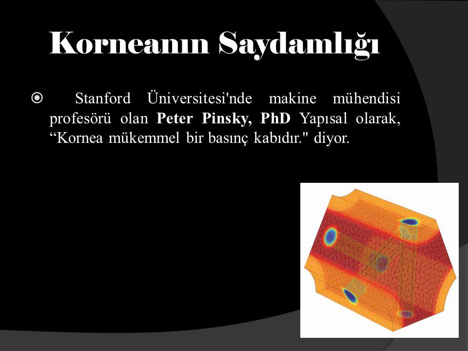 Korneanın Saydamlığı  Stanford Üniversitesi nde makine mühendisi profesörü olan Peter Pinsky, PhD Yapısal olarak, Kornea mükemmel bir basınç kabıdır. diyor.