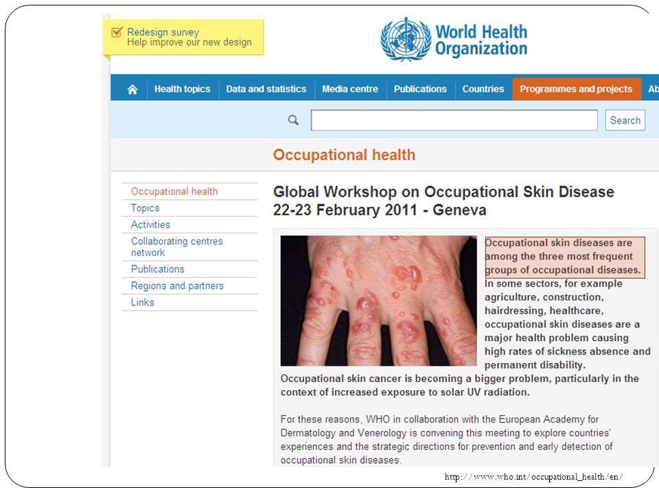 Mesleki deri hastalığı: Meslek hastalıklarının %50-60'ıdır Hastalıklara bağlı kayıp işgünlerinin %25'inden sorumlu Genellikle de işyeri ile bağlantısı bilinmediğinden mesleki hastalık olarak bildirilmezler.