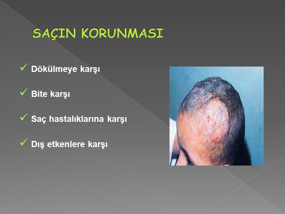 Dökülmeye karşı Bite karşı Saç hastalıklarına karşı Dış etkenlere karşı