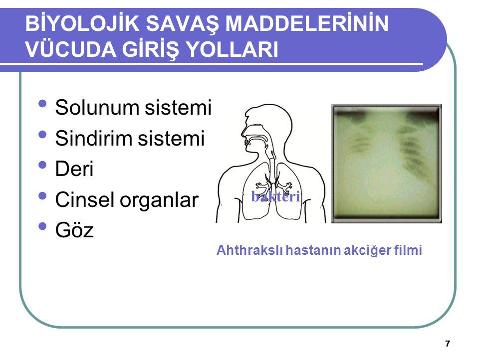 7 BİYOLOJİK SAVAŞ MADDELERİNİN VÜCUDA GİRİŞ YOLLARI Solunum sistemi Sindirim sistemi Deri Cinsel organlar Göz Ahthrakslı hastanın akciğer filmi bakter
