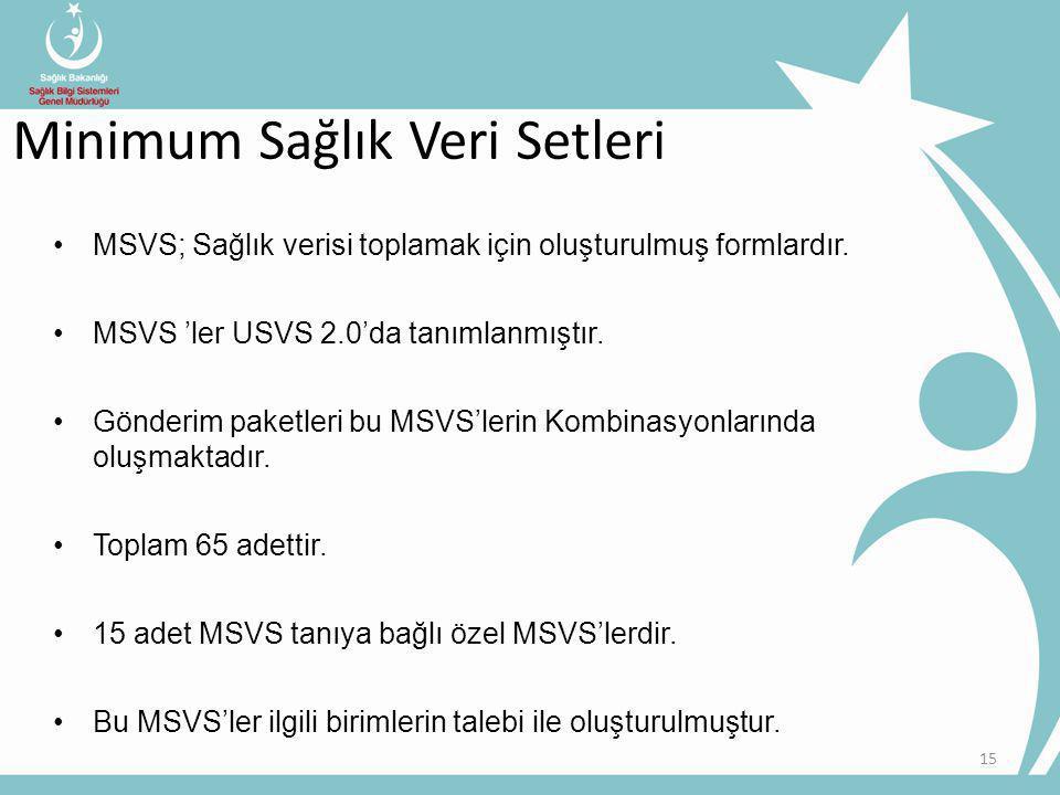 15 MSVS; Sağlık verisi toplamak için oluşturulmuş formlardır.