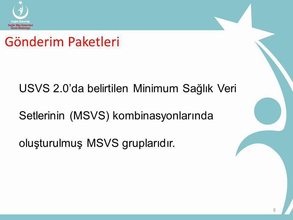 8 USVS 2.0'da belirtilen Minimum Sağlık Veri Setlerinin (MSVS) kombinasyonlarında oluşturulmuş MSVS gruplarıdır.