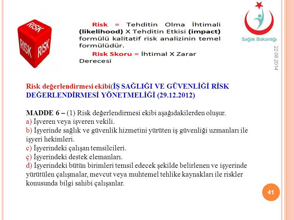 22.08.2014 41 Risk değerlendirmesi ekibi(İŞ SAĞLIĞI VE GÜVENLİĞİ RİSK DEĞERLENDİRMESİ YÖNETMELİĞİ (29.12.2012) MADDE 6 – (1) Risk değerlendirmesi ekib