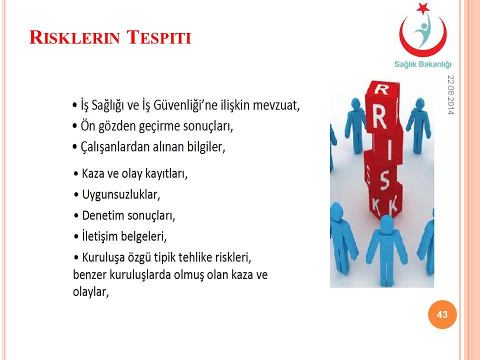 R ISKLERIN T ESPITI 22.08.2014 43