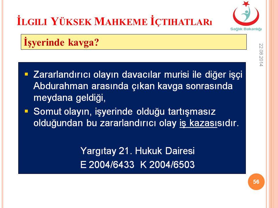 İ LGILI Y ÜKSEK M AHKEME İ ÇTIHATLARı 22.08.2014 56 İşyerinde kavga?