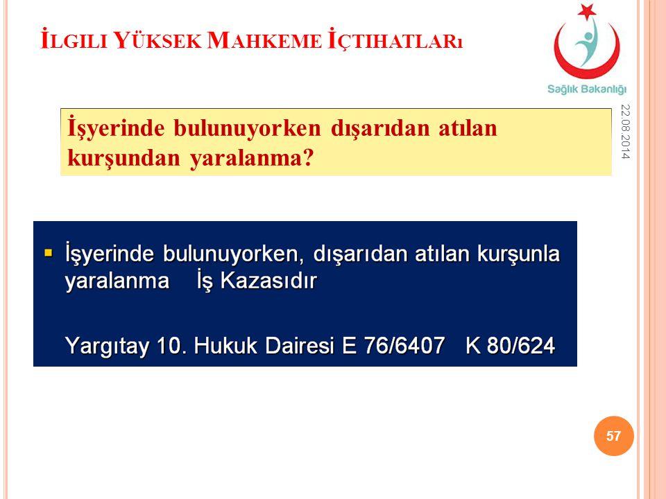 İ LGILI Y ÜKSEK M AHKEME İ ÇTIHATLARı 22.08.2014 57 İşyerinde bulunuyorken dışarıdan atılan kurşundan yaralanma?