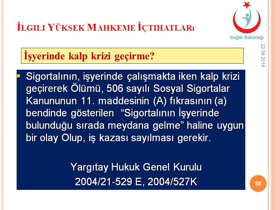 İ LGILI Y ÜKSEK M AHKEME İ ÇTIHATLARı 22.08.2014 58 İşyerinde kalp krizi geçirme?