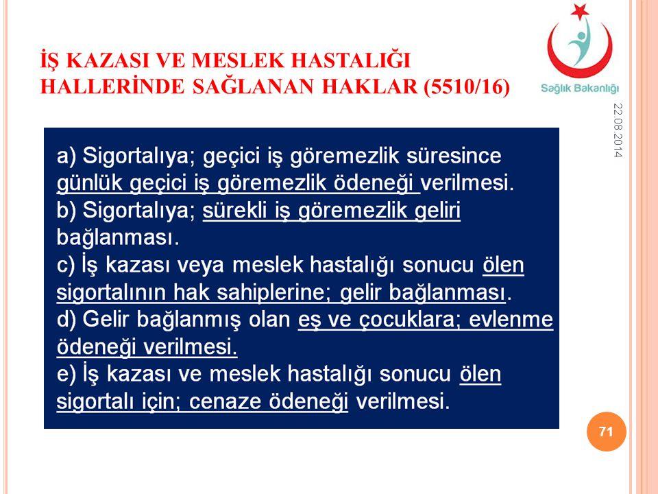 İŞ KAZASI VE MESLEK HASTALIĞI HALLERİNDE SAĞLANAN HAKLAR (5510/16) 22.08.2014 71