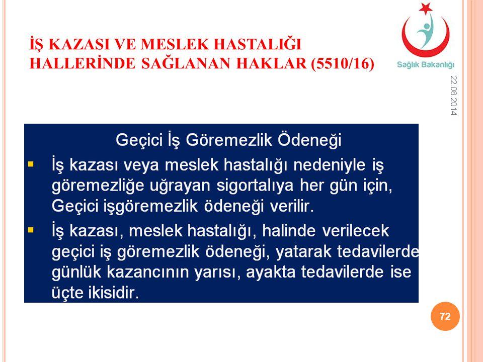 İŞ KAZASI VE MESLEK HASTALIĞI HALLERİNDE SAĞLANAN HAKLAR (5510/16) 22.08.2014 72