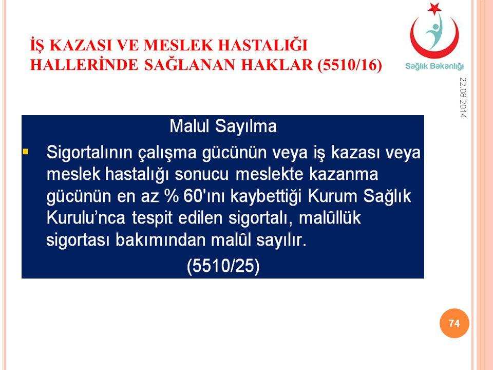 İŞ KAZASI VE MESLEK HASTALIĞI HALLERİNDE SAĞLANAN HAKLAR (5510/16) 22.08.2014 74