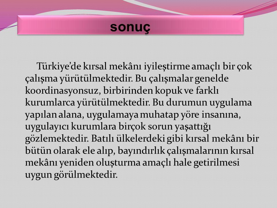 sonuç Türkiye'de kırsal mekânı iyileştirme amaçlı bir çok çalışma yürütülmektedir. Bu çalışmalar genelde koordinasyonsuz, birbirinden kopuk ve farklı