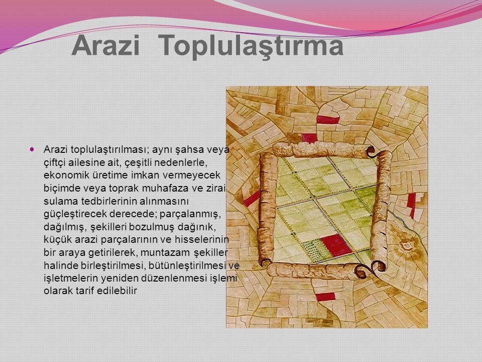Arazi toplulaştırması uygulanma seçenekleri 1.Geniş kapsamlı arazi toplulaştırması 2.