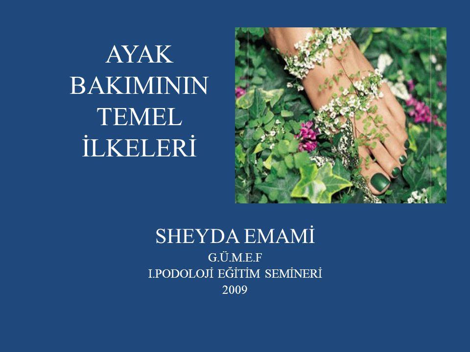 AYAK BAKIMININ TEMEL İLKELERİ SHEYDA EMAMİ G.Ü.M.E.F I.PODOLOJİ EĞİTİM SEMİNERİ 2009