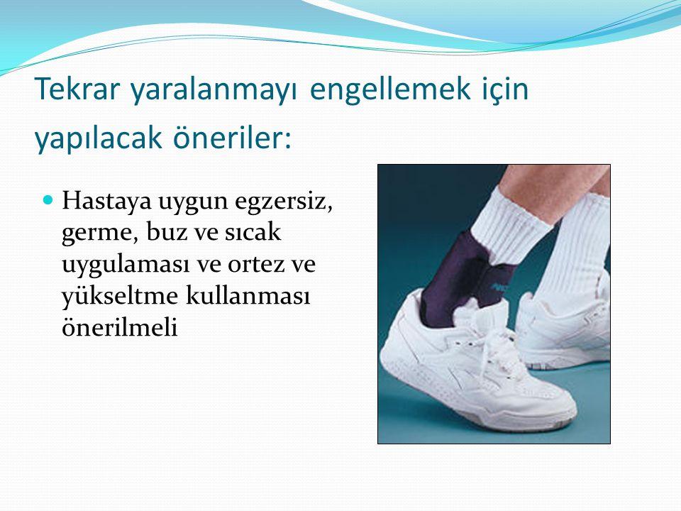 Tekrar yaralanmayı engellemek için yapılacak öneriler: Hastaya uygun egzersiz, germe, buz ve sıcak uygulaması ve ortez ve yükseltme kullanması önerilmeli