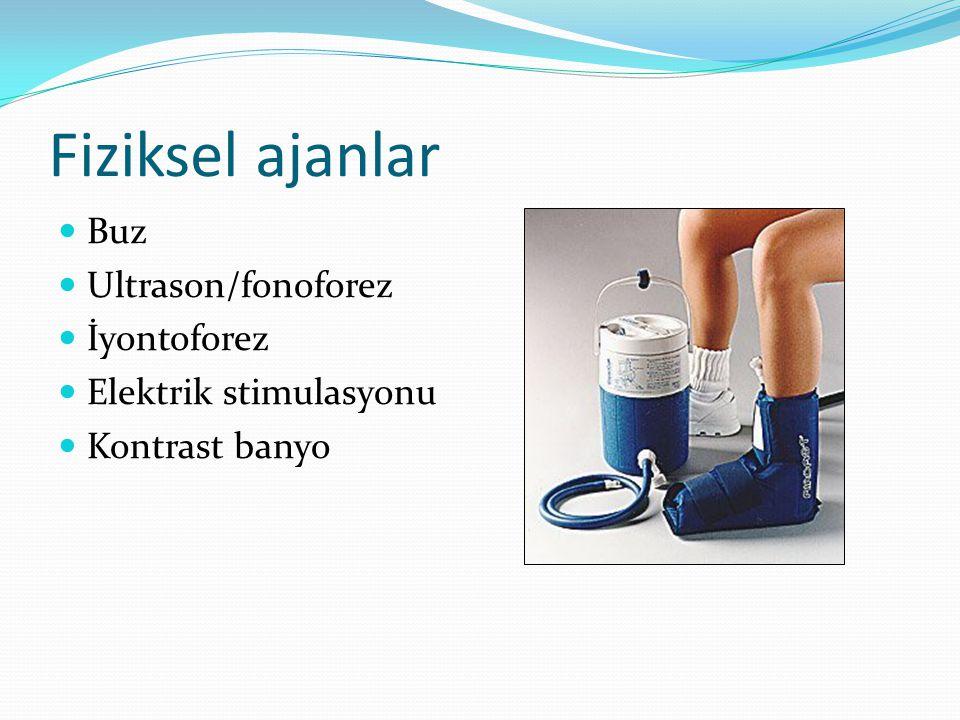 Fiziksel ajanlar Buz Ultrason/fonoforez İyontoforez Elektrik stimulasyonu Kontrast banyo