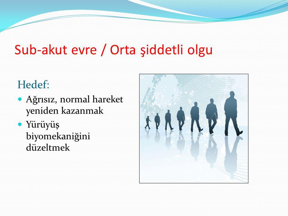 Sub-akut evre / Orta şiddetli olgu Hedef: Ağrısız, normal hareket yeniden kazanmak Yürüyüş biyomekaniğini düzeltmek