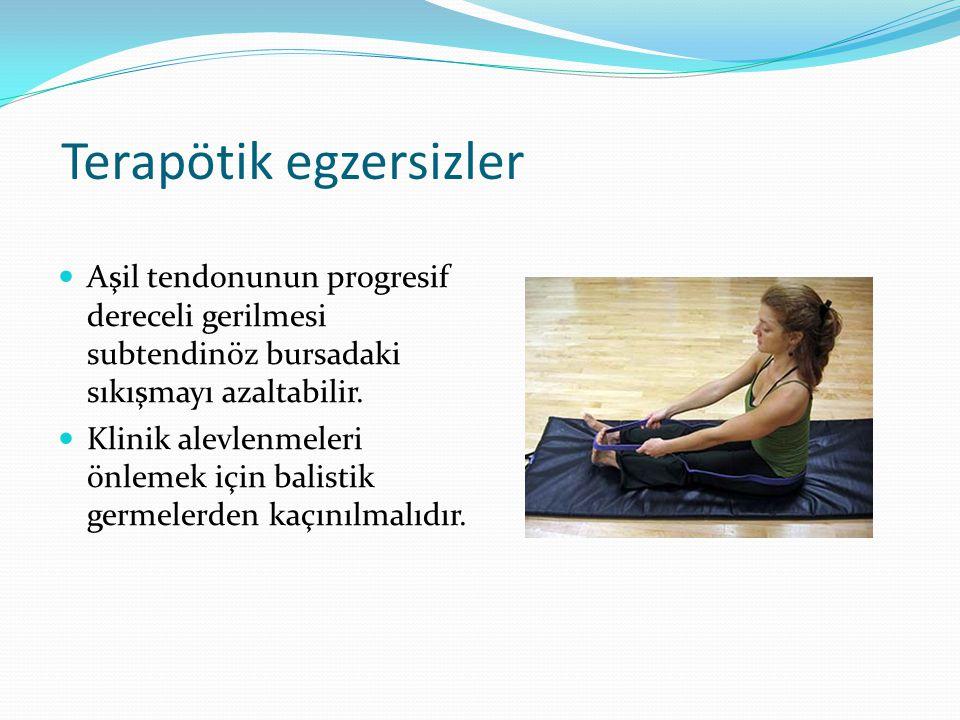 Terapötik egzersizler Aşil tendonunun progresif dereceli gerilmesi subtendinöz bursadaki sıkışmayı azaltabilir.