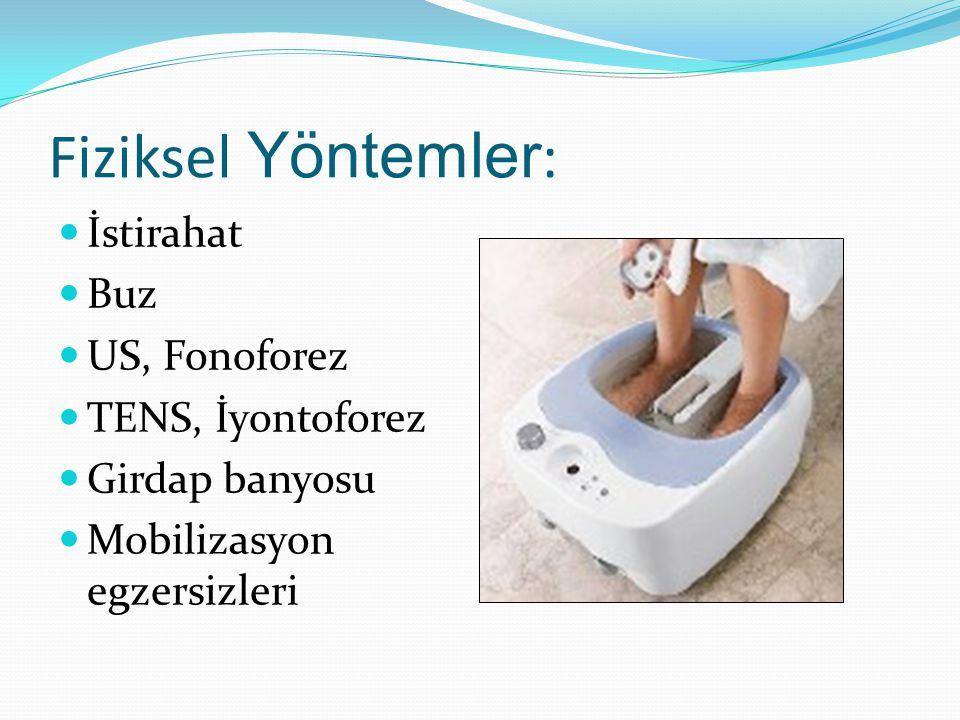 Fiziksel Yöntemler : İstirahat Buz US, Fonoforez TENS, İyontoforez Girdap banyosu Mobilizasyon egzersizleri