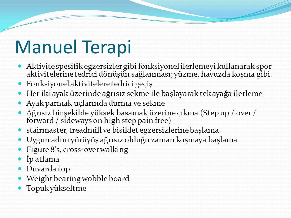 Manuel Terapi Aktivite spesifik egzersizler gibi fonksiyonel ilerlemeyi kullanarak spor aktivitelerine tedrici dönüşün sağlanması; yüzme, havuzda koşma gibi.