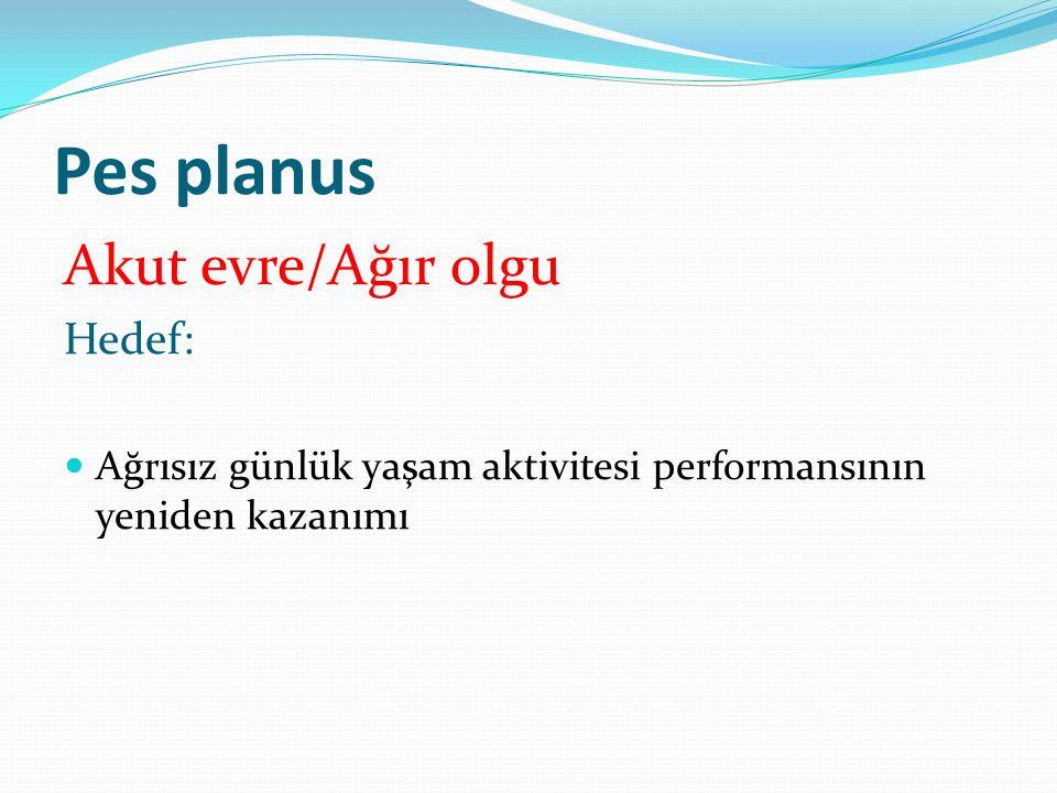 Pes planus Akut evre/Ağır olgu Hedef: Ağrısız günlük yaşam aktivitesi performansının yeniden kazanımı