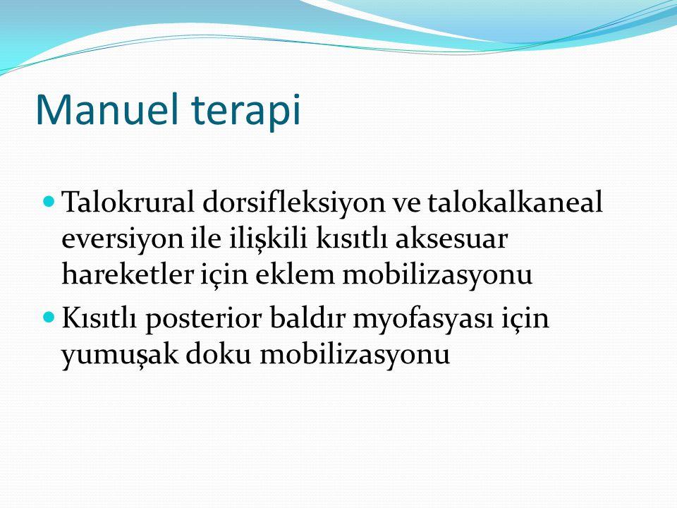Manuel terapi Talokrural dorsifleksiyon ve talokalkaneal eversiyon ile ilişkili kısıtlı aksesuar hareketler için eklem mobilizasyonu Kısıtlı posterior baldır myofasyası için yumuşak doku mobilizasyonu