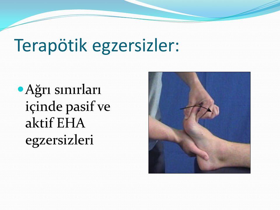 Neuromüsküler eğitim Nötral ayak pozisyon eğitimine ilerleme Eksternal Cihazlar (Bantlama/Atelleme/Ortezler) Ayak ortezinin reçetelenmesi/fabrikasyonun değerlendirilmesi