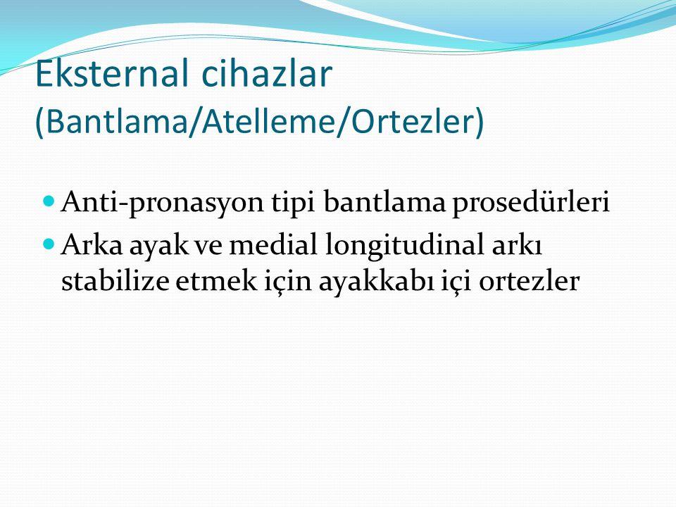Eksternal cihazlar (Bantlama/Atelleme/Ortezler) Anti-pronasyon tipi bantlama prosedürleri Arka ayak ve medial longitudinal arkı stabilize etmek için ayakkabı içi ortezler