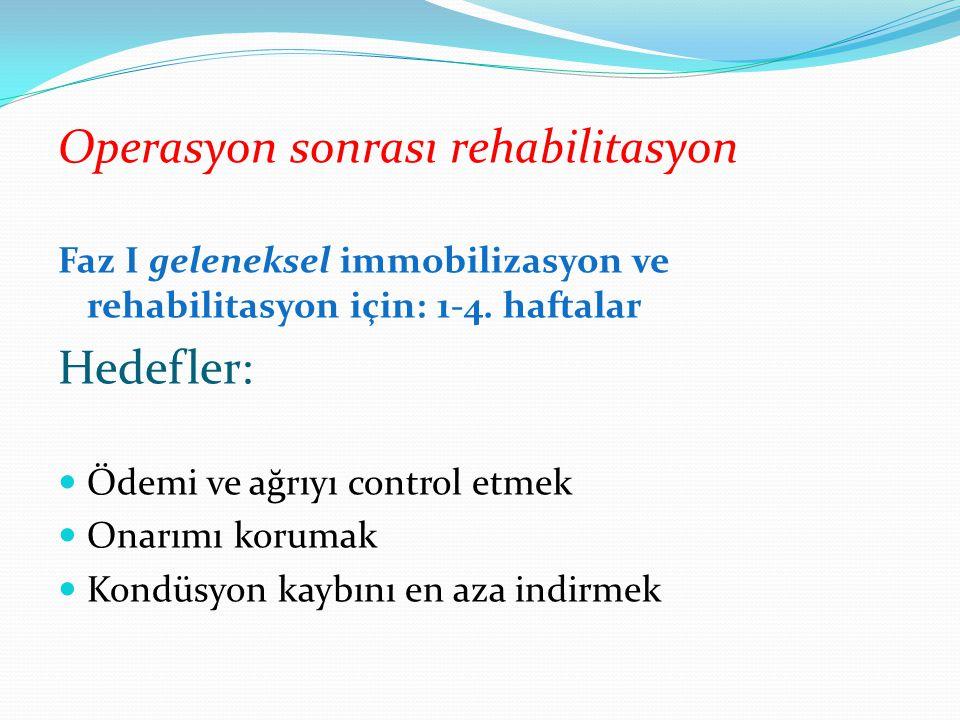 Operasyon sonrası rehabilitasyon Faz I geleneksel immobilizasyon ve rehabilitasyon için: 1-4.