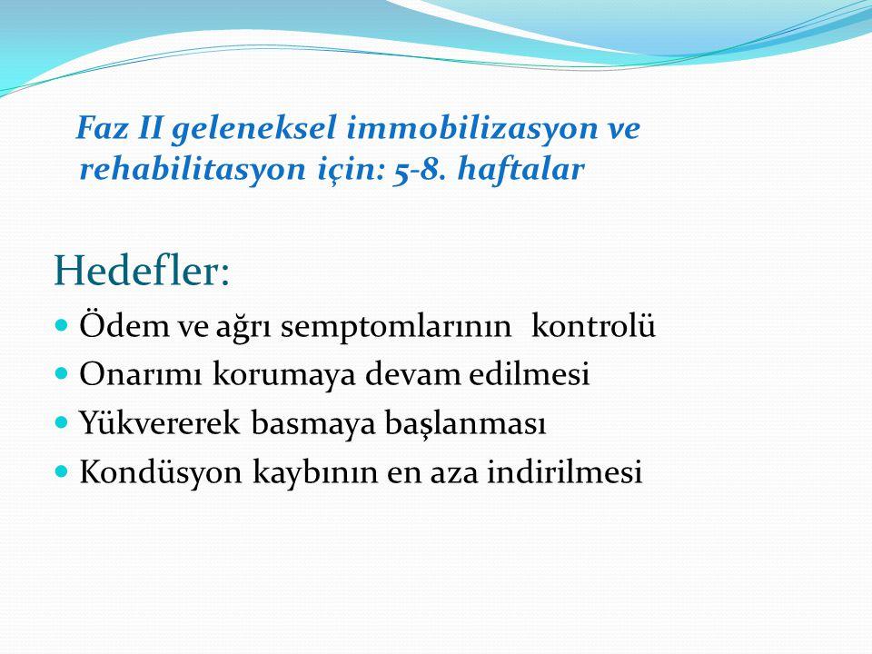 Faz II geleneksel immobilizasyon ve rehabilitasyon için: 5-8.