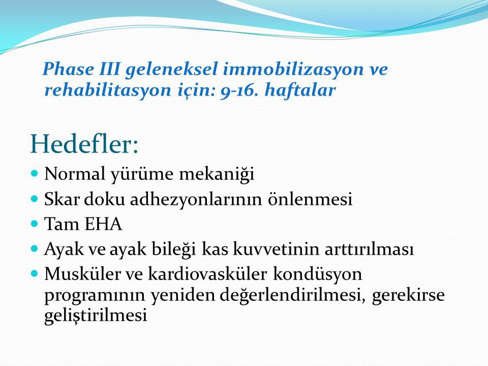 Phase III geleneksel immobilizasyon ve rehabilitasyon için: 9-16.