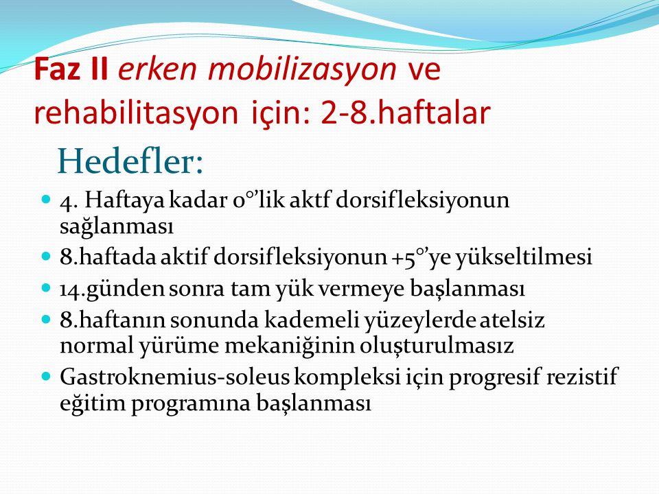 Faz II erken mobilizasyon ve rehabilitasyon için: 2-8.haftalar Hedefler: 4.