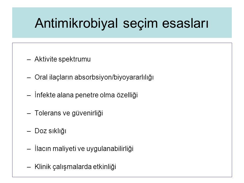 Antimikrobiyal seçim esasları –Aktivite spektrumu –Oral ilaçların absorbsiyon/biyoyararlılığı –İnfekte alana penetre olma özelliği –Tolerans ve güveni