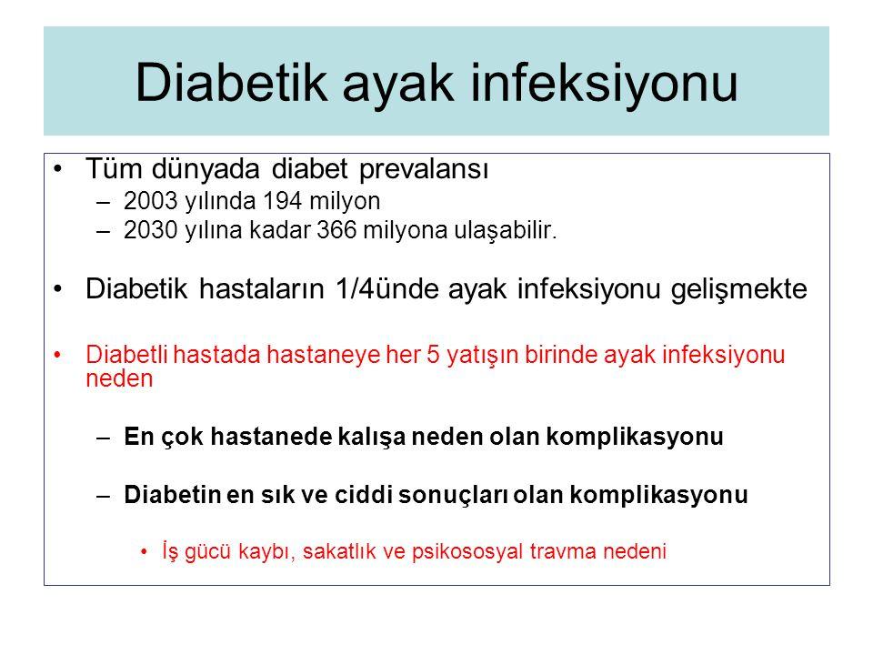 Diabetik ayak infeksiyonu Tüm dünyada diabet prevalansı –2003 yılında 194 milyon –2030 yılına kadar 366 milyona ulaşabilir. Diabetik hastaların 1/4ünd