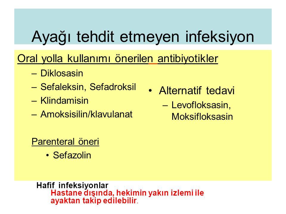 Ayağı tehdit etmeyen infeksiyon Oral yolla kullanımı önerilen –Diklosasin –Sefaleksin, Sefadroksil –Klindamisin –Amoksisilin/klavulanat Parenteral öne