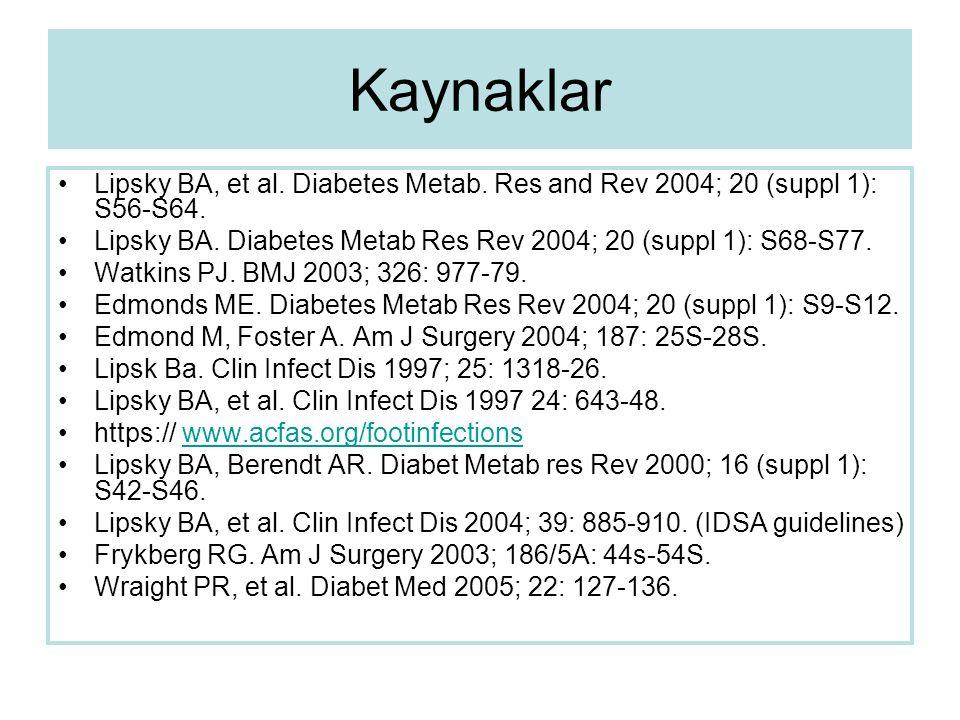Kaynaklar Lipsky BA, et al. Diabetes Metab. Res and Rev 2004; 20 (suppl 1): S56-S64. Lipsky BA. Diabetes Metab Res Rev 2004; 20 (suppl 1): S68-S77. Wa
