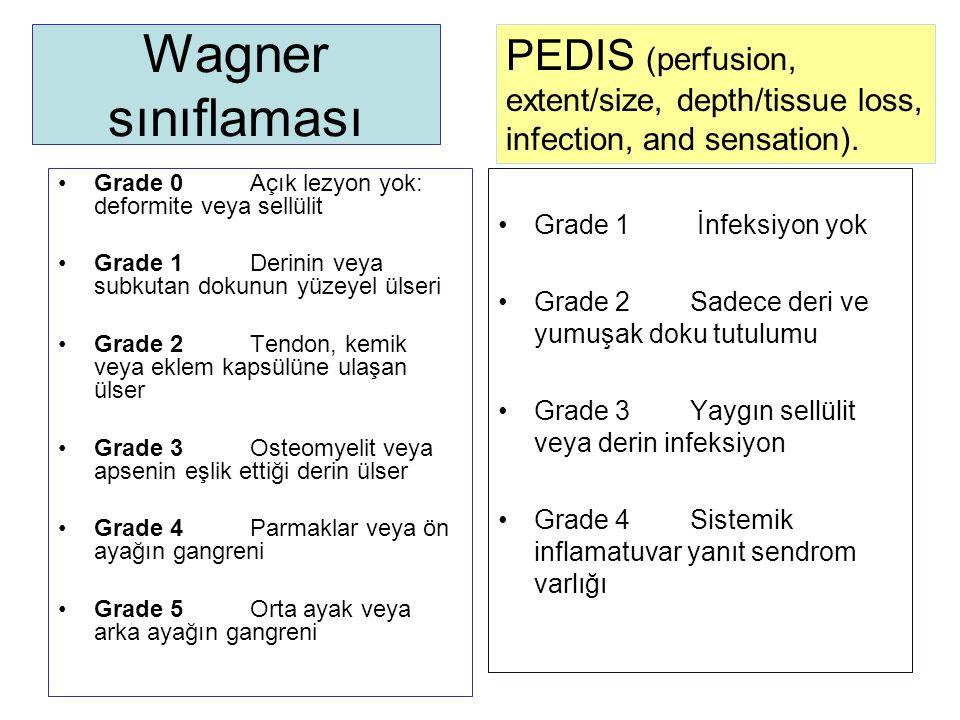 Wagner sınıflaması Grade 0Açık lezyon yok: deformite veya sellülit Grade 1Derinin veya subkutan dokunun yüzeyel ülseri Grade 2Tendon, kemik veya eklem