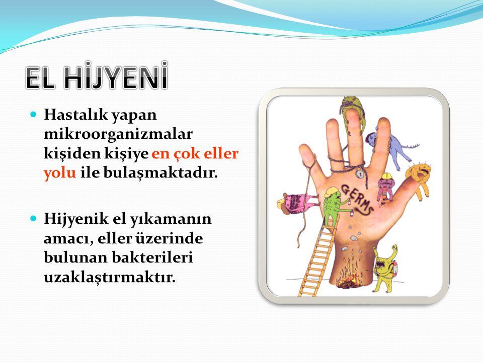 Hastalık yapan mikroorganizmalar kişiden kişiye en çok eller yolu ile bulaşmaktadır. Hijyenik el yıkamanın amacı, eller üzerinde bulunan bakterileri u