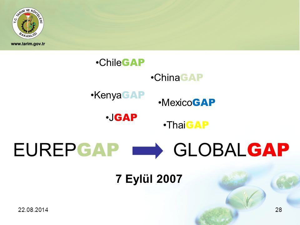 22.08.201428 EUREP GAP GLOBAL GAP 7 Eylül 2007 Chile GAP China GAP Kenya GAP Mexico GAP J GAP Thai GAP