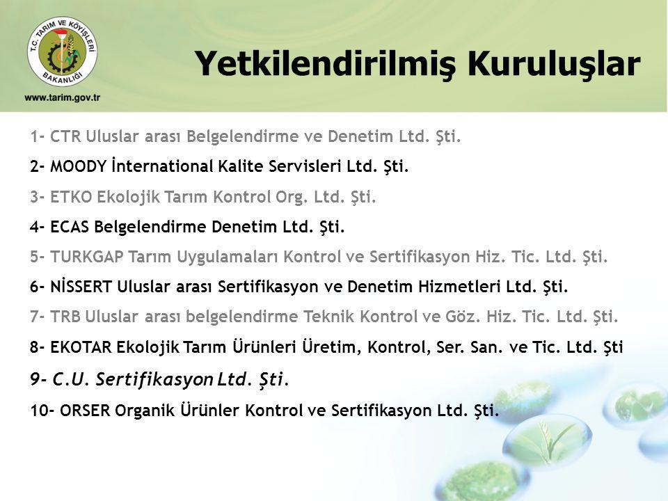 Yetkilendirilmiş Kuruluşlar 1- CTR Uluslar arası Belgelendirme ve Denetim Ltd. Şti. 2- MOODY İnternational Kalite Servisleri Ltd. Şti. 3- ETKO Ekoloji