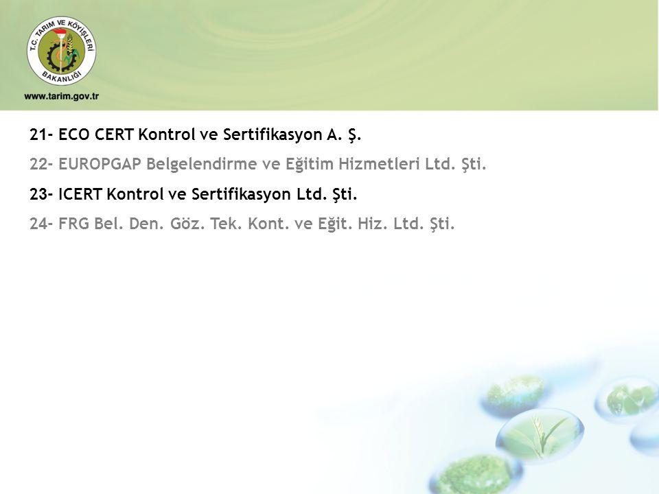 2 1 - ECO CERT Kontrol ve Sertifikasyon A. Ş. 2 2 - EUROPGAP Belgelendirme ve Eğitim Hizmetleri Ltd. Şti. 2 3 - ICERT Kontrol ve Sertifikasyon Ltd. Şt