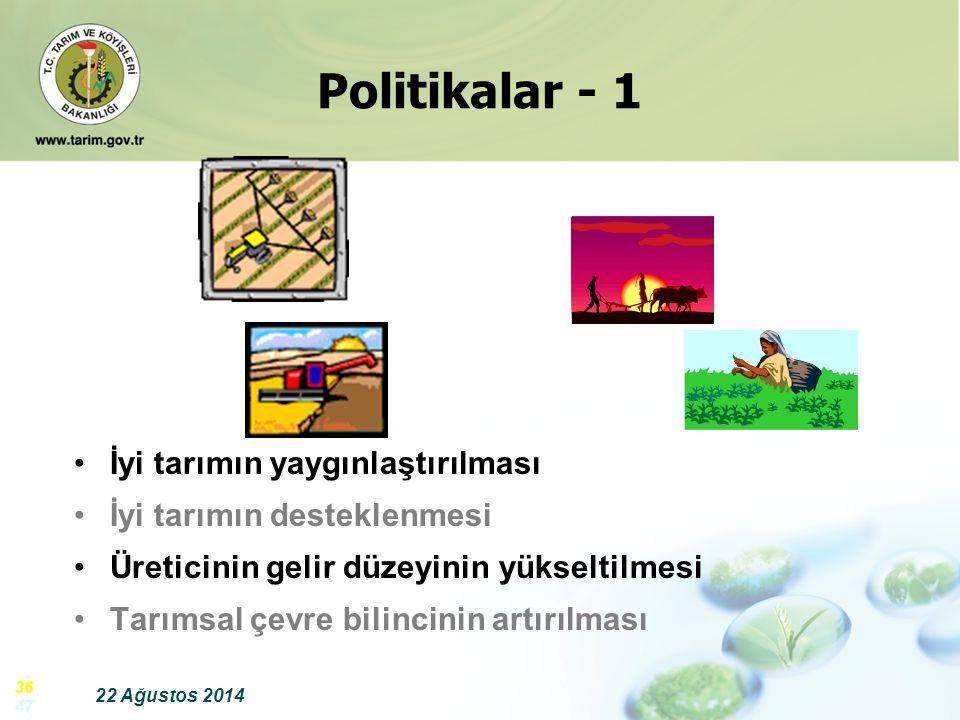 22 Ağustos 2014 36 47 İyi tarımın yaygınlaştırılması İyi tarımın desteklenmesi Üreticinin gelir düzeyinin yükseltilmesi Tarımsal çevre bilincinin artı