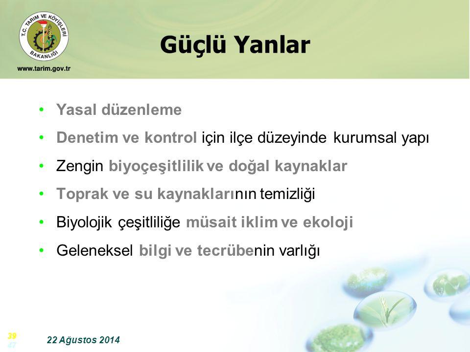 22 Ağustos 2014 39 47 Güçlü Yanlar Yasal düzenleme Denetim ve kontrol için ilçe düzeyinde kurumsal yapı Zengin biyoçeşitlilik ve doğal kaynaklar Topra