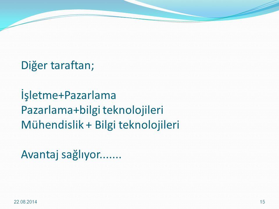 Diğer taraftan; İşletme+Pazarlama Pazarlama+bilgi teknolojileri Mühendislik + Bilgi teknolojileri Avantaj sağlıyor....... 22.08.201415