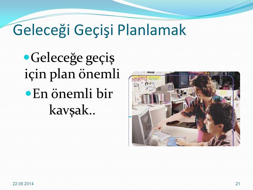 Geleceği Geçişi Planlamak Geleceğe geçiş için plan önemli En önemli bir kavşak.. 22.08.201421