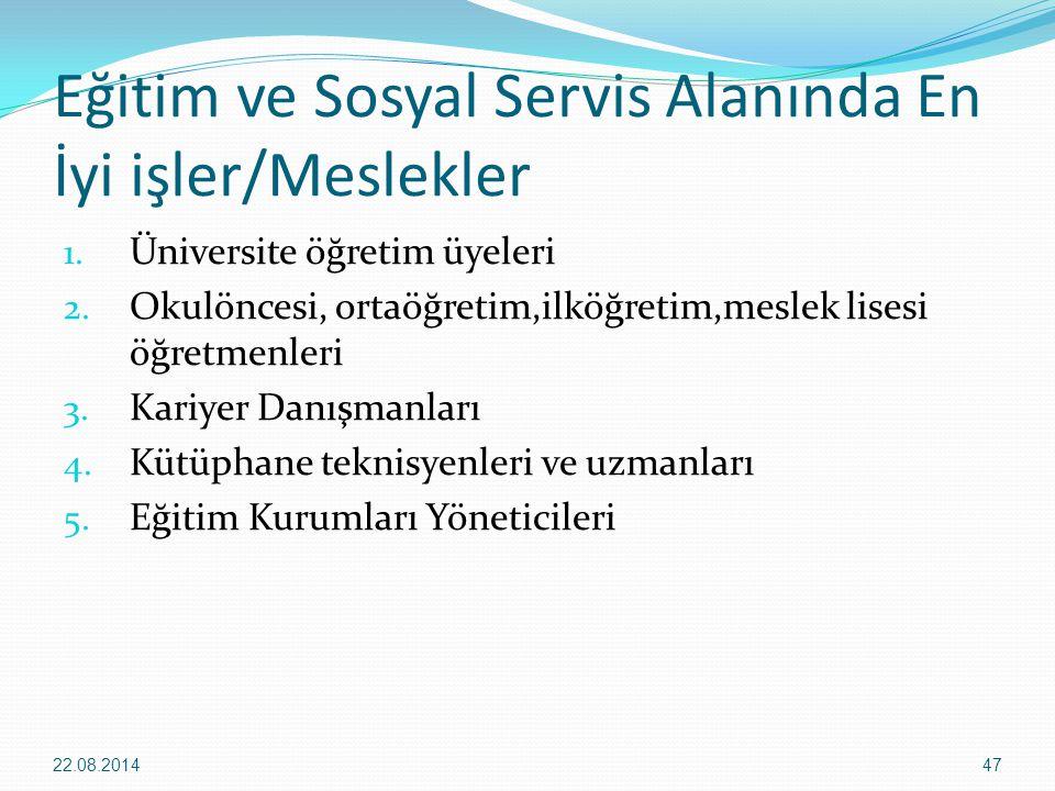 Eğitim ve Sosyal Servis Alanında En İyi işler/Meslekler 1. Üniversite öğretim üyeleri 2. Okulöncesi, ortaöğretim,ilköğretim,meslek lisesi öğretmenleri